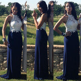 XP206 Long Prom Dress,Navy Blue Prom Dress,Halter Formal Dress,Evening Gown for Party