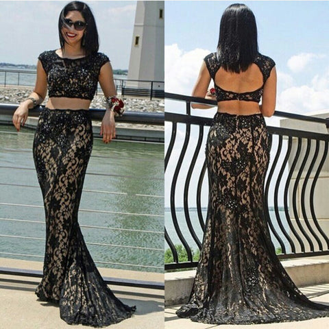 XP211 Two Piece Black Lace Prom Dress,Fashion Sexy Prom Dresses,New Arrival Sexy Prom Dress,