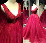 XP214 Red Prom Dress, A Line Red Lace Evening Dresses,Formal Prom Dresses,Party Dresses