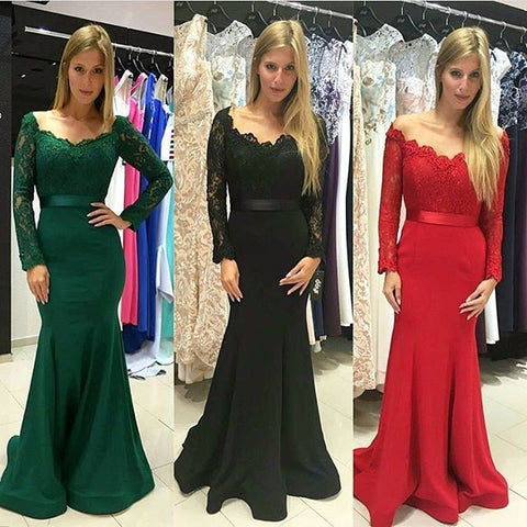 XP216 Dark Green Off The Shoulder Mermaid Long Sleeve Lace Prom Gown, Evening Dress Long Sleeve