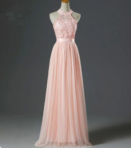 XP217 Cute Pink Halter Lace and Tulle Prom Dresses,Pink Party Dresses,Sweet 16 Dresses