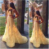 XP222 A Line Lace Sexy Long Yellow Prom Dress,Custom Made Two Pieces Lace Prom Dresses