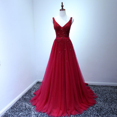 XP223 Sexy tulle formal dresses,A line Sleeveless V neck Backless Red Evening Dresses