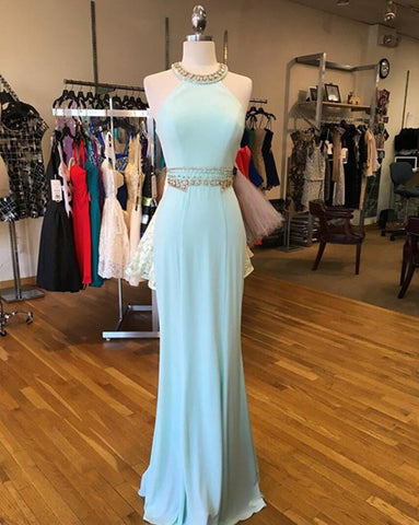 XP224 Ice Blue Jewel Neck Fitted Formal Prom Dress With Beading,Sheathy Sexy beading evening dress