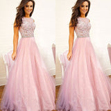 XP225 Top lace a line long tulle formal pink lace prom dress,formal lace pink evening dress