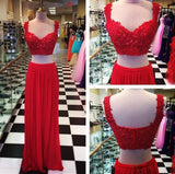 XP22 Sexy Two piece Red Lace Long Prom Dress,Red lace two piece evening gown
