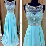 XP230 Top beading a line long chiffon blue prom dress,beading prom dress,formal dress