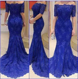 XP231 Royal Blue Evening Dress,Off Shoulder Evening Dress,Mermaid Evening Dress