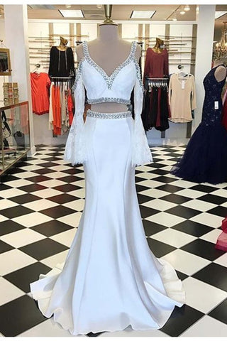 XP233 White chiffon off-shoulder lace long sleeves V-neck long evening dresses,prom dress