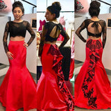 XP237 Black Lace Bodice Red Skirt Two Piece Mermaid Prom Dresses with Long Sleeves
