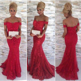 XP240 Red Off-the-Shoulder Appliques Mermaid Tulle Prom Dresses 2017