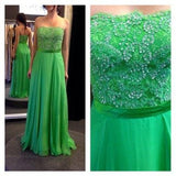 XP241 Prom Dress,Strapless Green Lace Bridesmaid Dress Evening Dresses Custom Party Dress