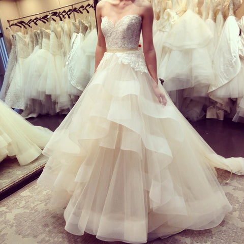 2018 Custom Made Off the Shoulder Top Lace Ball Gown Tulle Wedding Dress