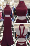 XP252 Crimson chiffon two pieces sequins cross back long dresses,evening dresses