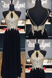 XP256 Black chiffon lace applique open back long prom dress,formal dresses