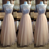 XP25 Custom Made Long Champagne Prom Dress, tulle prom dress
