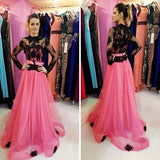 XP260 Illusion Black Lace and Pink Long Sleeves A-line Tulle Prom Dresses 2017