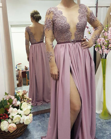 XP264 Lace Appliqed See-through Bodice Prom Dresses,Long Sleeves Prom Dresses with Slit