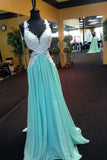 XP265 Blue chiffon lace V-neck long prom dresses,elegant evening dresses