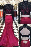 XP267 Hot pink satins black lace long sleeves two pieces long mermaid prom dress