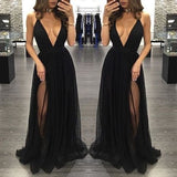 XP268 Black Deep V Neck Sexy Simple Side Split Long Party Prom Dresses