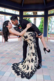 XP270 Sexy Black Lace Champagne Long High Low Prom Dress