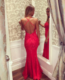 XP276 Sexy Mermaid Spaghetti Straps Lace Prom Dress,Open Back Mermaid Prom Gown,Mermaid Lace Party Dress,Backless Sexy Evening Dress
