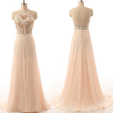 XP27 High Neck Backless Sexy Beading Champagne Prom Dress,Sexy Champagne Beading Prom Dress