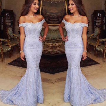 XP281 Off-the-Shoulder Appliques Sweep Train Mermaid Prom Dresses 2017