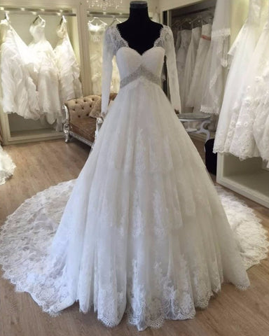Real Photos Long Sleeve V Neck Backless Chapel Train Crystal Beading Long Sleeve Wedding Dress