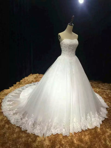 Chapel train soft tulle lace appliques strapless real photo custom made wedding dress