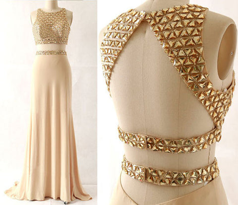 XP29 Beading 2 Pieces Prom Dress,Satin Prom Dress,Mermaid Evening Dress