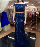 XP32 Mermaid Two Pieces Lace Custom Made Prom Dresses,Floor-Length Evening Dress,Prom Dresses