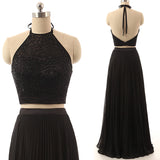 XP34 Sexy two piece black high neck beading prom dress