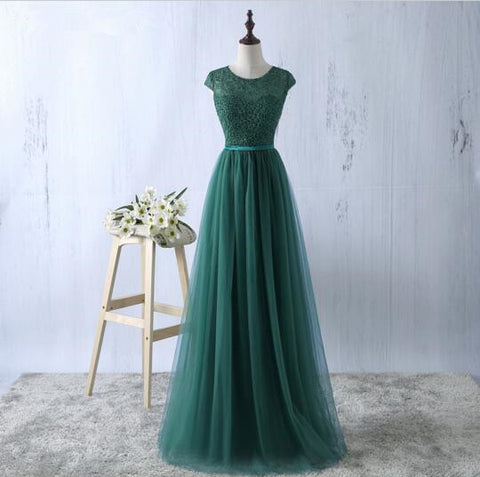XP35 Dark green waist A-line dress fashion women chiffon printing prom dress