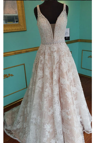 XP37 Champagne lace V-neck A-line long pearl long prom dress for teens,formal dresses for teens