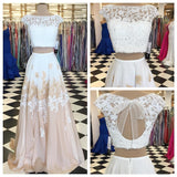 XP3 A-line Two Piece Long Floor Length Prom Dress with Open Back Plus Size Teens Formal Gown