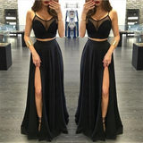 XP1 Two Piece Prom Dress,Black Prom Dress,Chiffon Prom Dresses,Sexy Side Slit Prom Dress
