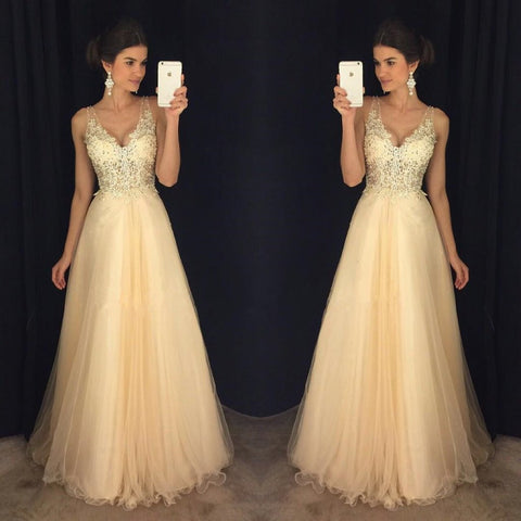 XP52 Top see through lace a line long champagne lace prom dress,a line lace champagne evening dress