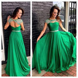 XP54 Charming Green Beading Short Sleeve Prom Dress,A Line Long Chiffon O-Neck Prom Dress