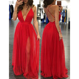 XP58 Sexy Deep V Neck Long Red Chiffon Prom Dress Party Dress with Side Slit