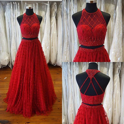 XP60 Sexy two piece high neck two piece red beading prom dress