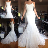 Open Back Boat Neck Mermaid Vintage Lace Wedding Dress Real Photo Bridal Gown