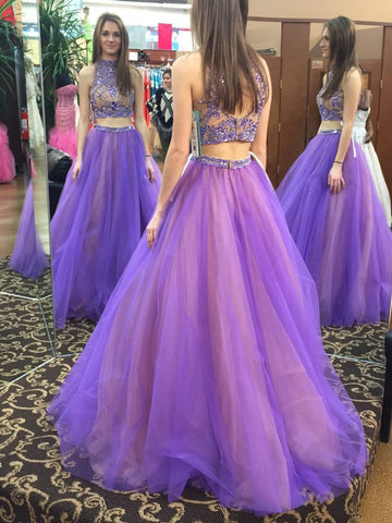 XP64 Beads Two Piece High Neck Long Light Purple Prom Dress with Open Back