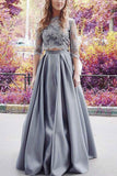 XP65 Modest Gray Lace Half Sleeves Prom Dress,Two Pieces Prom Dress
