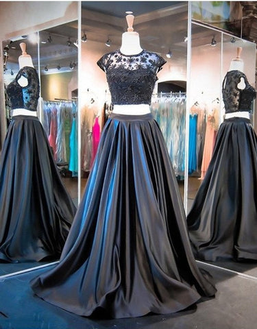 XP66 Modest Cap Sleeves Two Piece Beading Black Prom Dress,Two Piece Black Evening Dresses