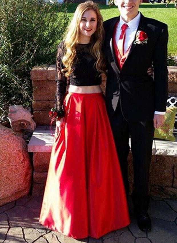 a779d781551 XP67 Black and Red Two Piece Lace Long Sleeves Prom Dress