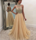 XP68 High Neck Champagne Prom Gown, Beaded Rhinestone Prom Dress