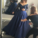 XP69 Gorgeous Long Sleeves Navy Blue Prom Dress,Long sleeve navy blue satin beading prom dress