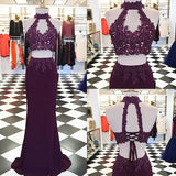 XP6 Decent Two Piece Purple Lace Mermaid Prom Dress 2017,High neck lace mermaid evening gown